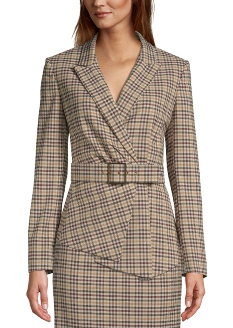 Tahari Asl Belted Plaid Asymmetrical Blazer