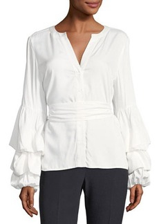Tahari ASL Blouson-Sleeve Button-Front Blouse