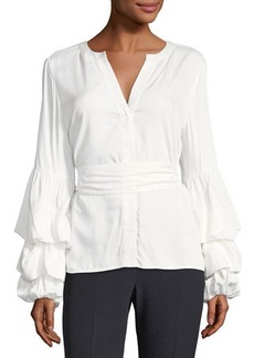 Tahari ASL Blouson-Sleeve Button-Front Blouse