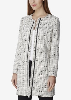Tahari Asl Boucle Fringe-Trim Topper Jacket