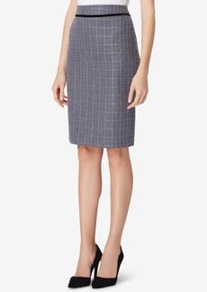 Tahari Asl Boucle Velvet-Trim Straight Skirt, Regular & Petite