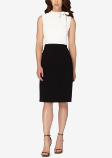 Tahari Asl Bow Colorblocked Sheath Dress