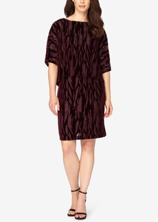 Tahari Asl Burnout Velvet Popover Dress