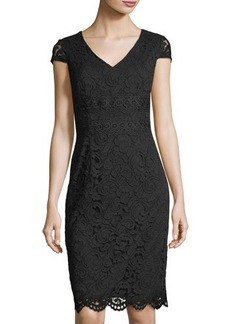 Tahari ASL Cap-Sleeve Lace Sheath Dress
