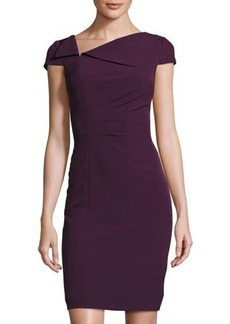 Elie Tahari Cap-Sleeve Pleated Sheath Dress