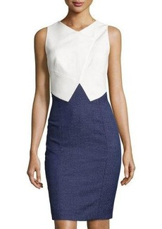 Tahari Celia Folded-Bodice Sheath Dress