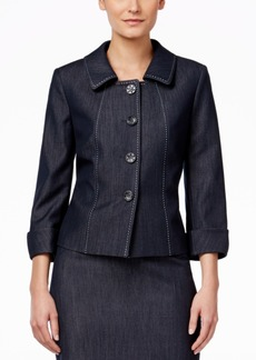 Tahari Asl Chambray Four-Button Jacket