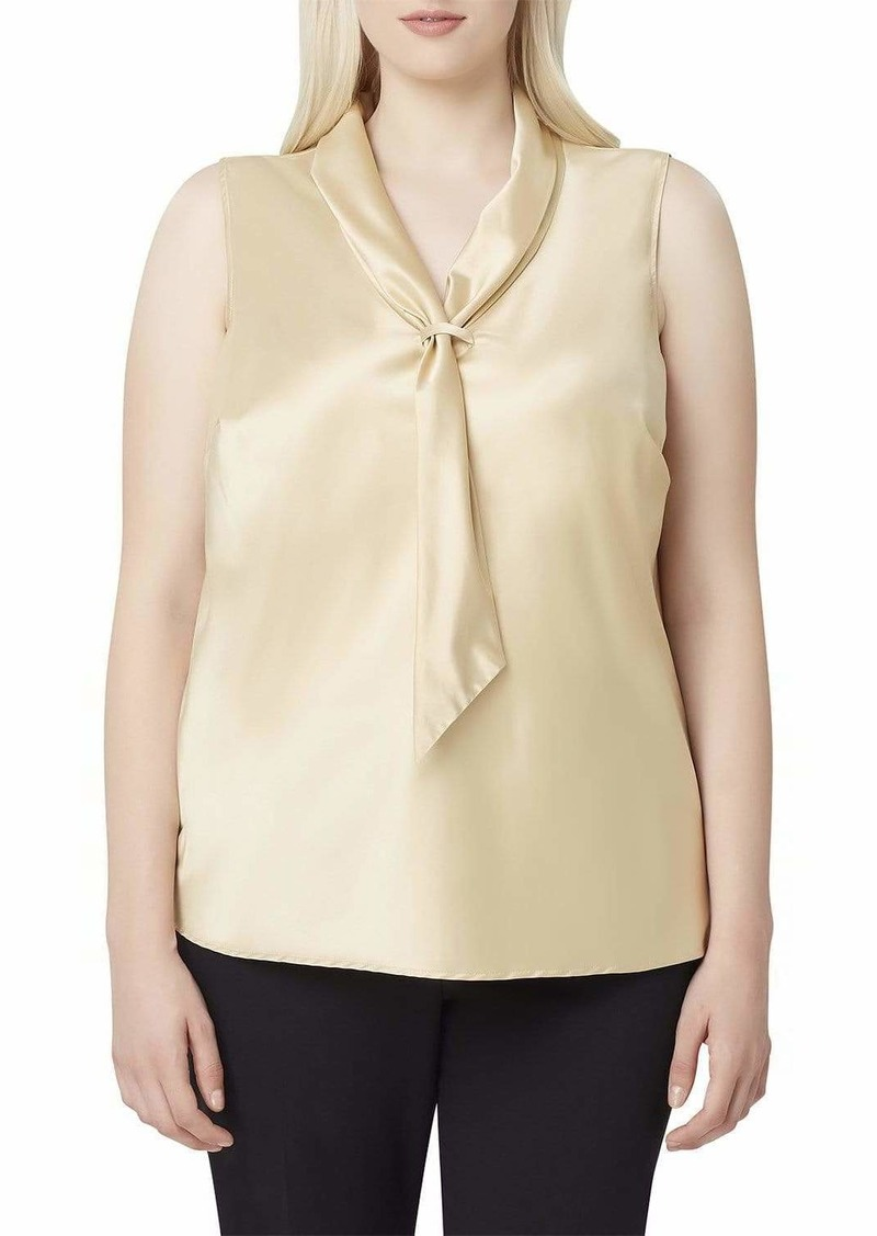 Tahari ASL Charmeuse Sailor Tie Top