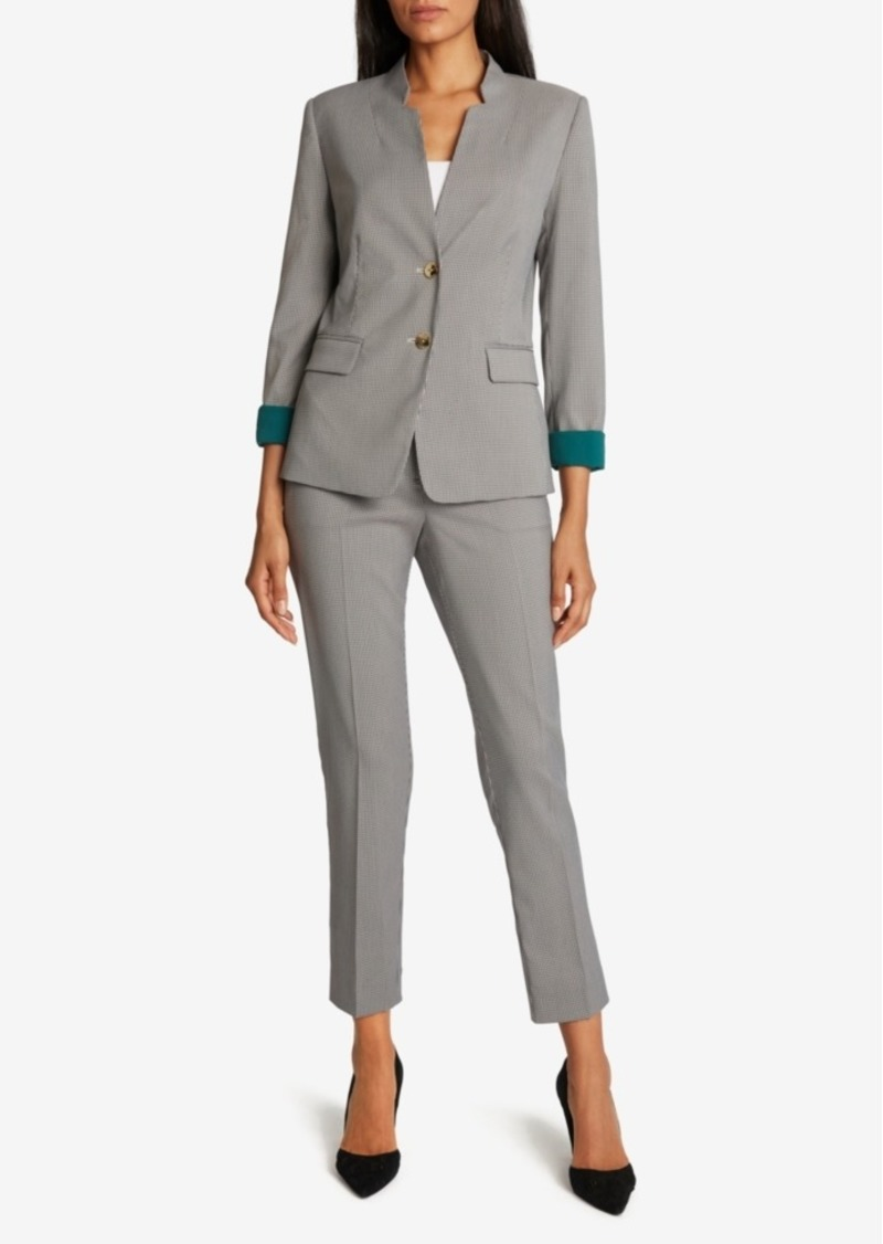 Tahari Asl Checkered Contrast-Cuff Pants Suit