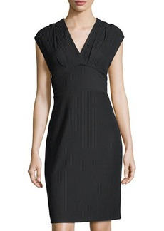 Tahari ASL Chevron-Knit V-Neck Dress