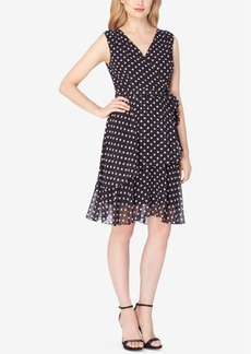 Tahari Asl Chiffon Polka-Dot Wrap Dress
