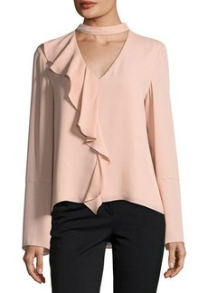 Tahari ASL Choker-Collar Ruffled Long-Sleeve Blouse