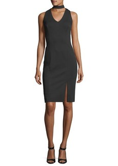 Tahari ASL Choker-Neck Ponté Sheath Dress