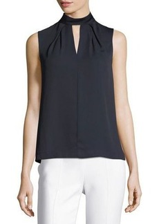Tahari ASL Choker-Neck Sleeveless Crepe Blouse