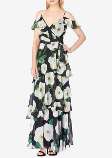 Tahari Asl Cold-Shoulder A-Line Gown