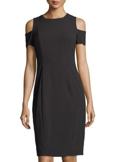 Tahari ASL Cold-Shoulder Crepe Sheath Dress