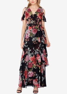 Tahari Asl Cold-Shoulder Floral Chiffon Gown