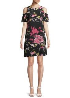 Tahari ASL Cold-Shoulder Floral Shift Dress