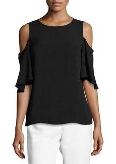 Tahari ASL Cold-Shoulder Flutter-Sleeve Top