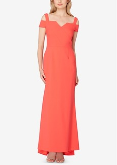 Tahari Asl Cold-Shoulder Gown
