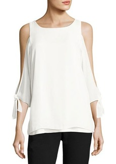 Tahari ASL Cold-Shoulder Knit Blouse
