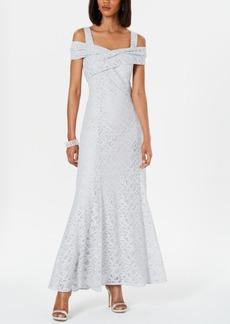 Tahari Asl Cold-Shoulder Lace Gown