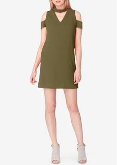 Tahari Asl Cold-Shoulder Mock-Neck Shift Dress