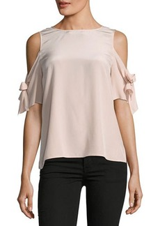 Tahari ASL Cold-Shoulder Silk Blouse