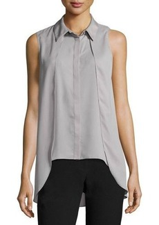 Tahari ASL Collard Sleeveless Crepe Blouse