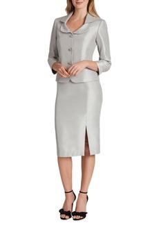 Tahari Asl Collared Three-Button Skirt Suit