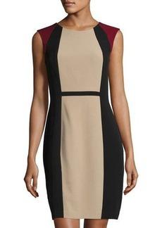 Elie Tahari Colorblock Cap-Sleeve Sheath Dress
