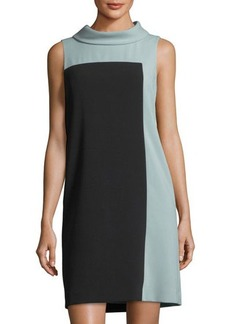 Tahari ASL Colorblock Roll-Neck Dress