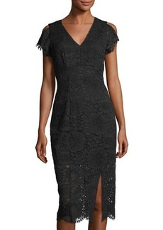 Tahari ASL Corded-Lace V-Neck Dress