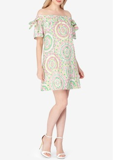 Tahari Asl Cotton Paisley Off-The-Shoulder Dress