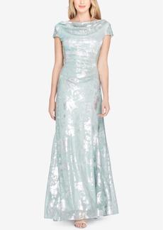 Tahari Asl Cowl-Neck Metallic Cap-Sleeve Gown