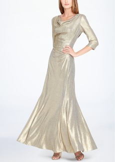 Tahari Asl Cowl-Neck Metallic Gown