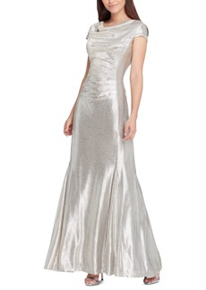Tahari Asl Cowlneck Metallic Gown