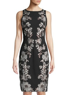 Tahari ASL Crane Embroidered Sleeveless Dress