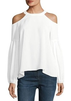 Tahari ASL Crepe de Chine Cold-Shoulder Top