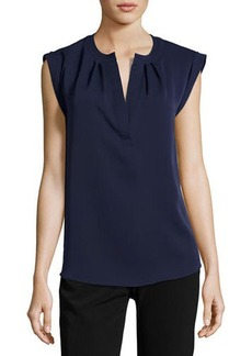 Tahari ASL Crepe Split-Neck Blouse