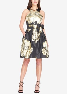 Tahari Asl Crisscross Metallic Jacquard Fit & Flare Dress