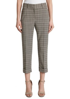 Tahari Asl Cropped Plaid Mid-Rise Cropped Dress Pants