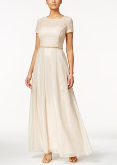 Tahari Asl Cutout-Back Popover Gown