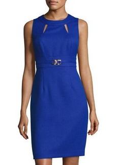 Tahari ASL Cutout Jacquard Sheath Dress