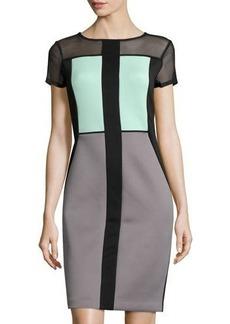 Tahari Dena Short-Sleeve Scuba Dress
