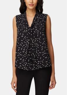 Tahari Asl Dot-Print Tie-Neck Top