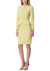 Tahari Asl Petite Stand-Collar Peplum-Hem Skirt Suit