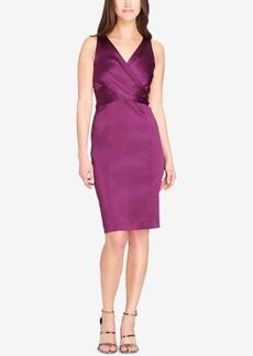 Tahari Asl Draped Satin Sheath Dress