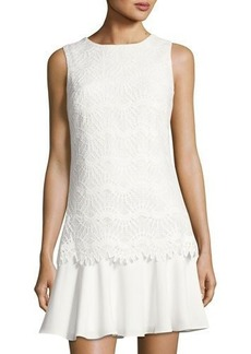 Tahari ASL Drop-Waist Lace-Overlay Dress