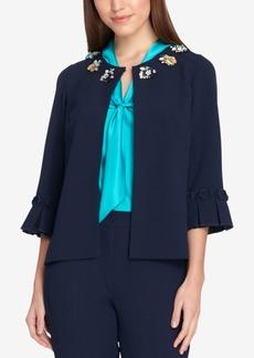 Tahari Asl Embellished 3/4-Sleeve Blazer